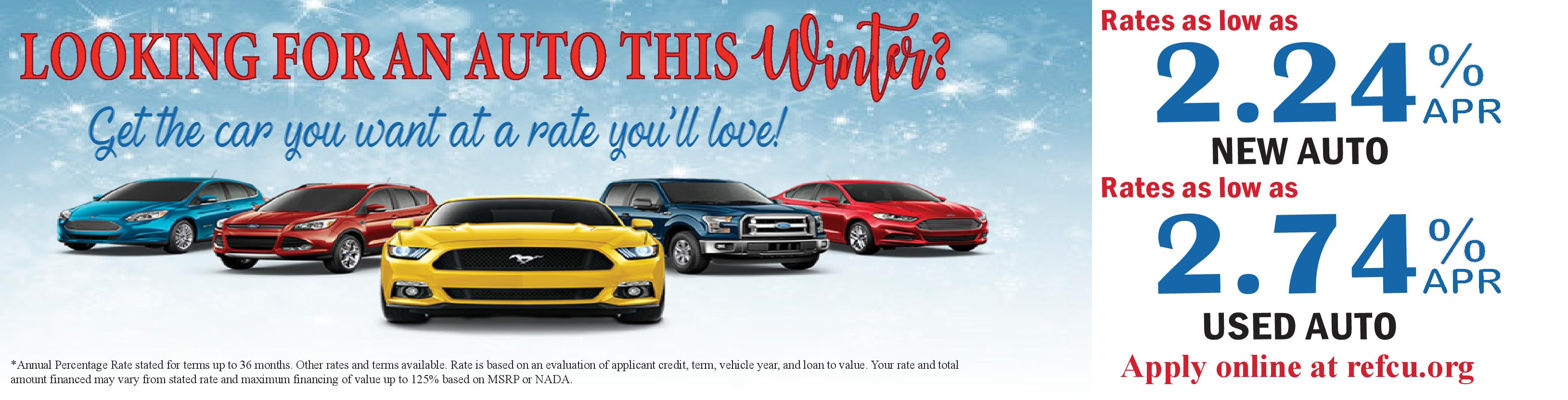 Looking for a new or used vehicle this winter? rates as low as 2.24%